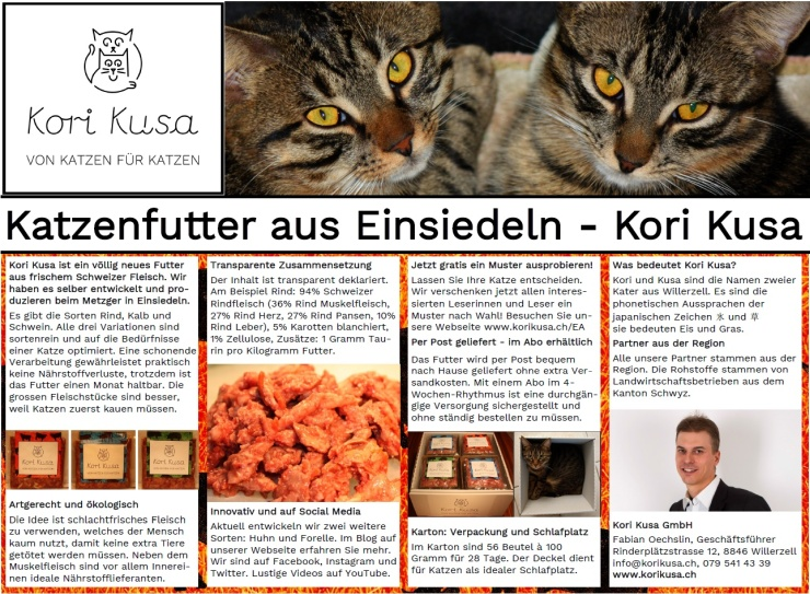 Publireportage-Kori-Kusa-Katzenfutter-Einsiedler-Anzeiger